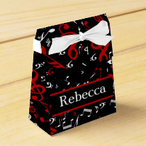 Personalized Red White and Black Musical Notes Favor Box