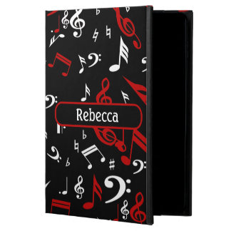 Personalized Red White and Black Musical Notes Powis iPad Air 2 Case
