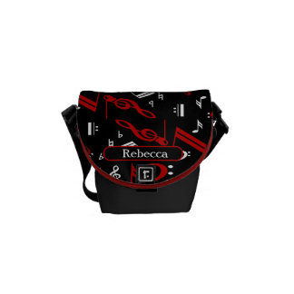 Personalized Red White and Black Musical Notes Messenger Bag