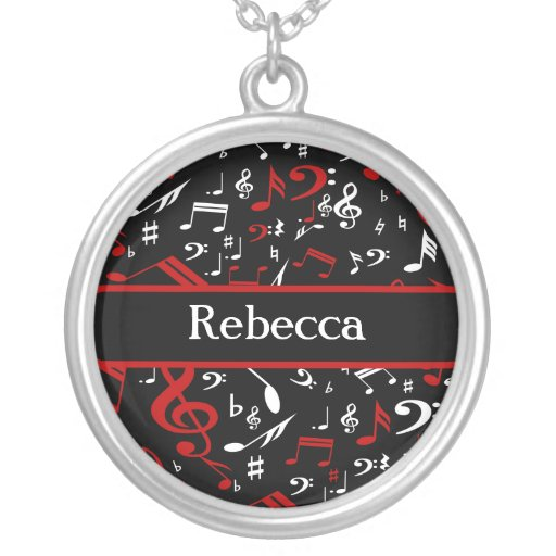 Personalized Red White and Black Musical Notes Round Pendant Necklace