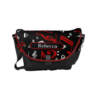 Personalized Red White and Black Musical Notes Small Messenger Bag