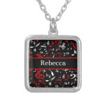 Personalized Red White and Black Musical Notes Square Pendant Necklace