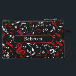 "Personalized Red White and Black Musical Notes Wristlet Wallet<br><div class=""desc"">Perfect gift for the music lover or musician with a design featuring a random jumbled pattern of musical notes and treble clefs in red and white on a classical black background. Easy to customize with your own text on a coordinating accent. Other colors available and we welcome custom requests. Contact...</div>"