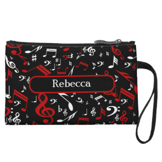 Personalized Red White and Black Musical Notes Wristlet Wallet
