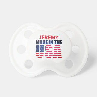 """Personalized Red, White and Blue """"Made in the USA"""" Pacifier"""
