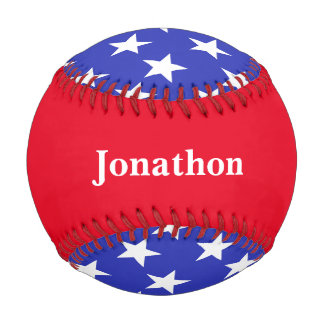 Personalized Red, White and Blue Star Baseball