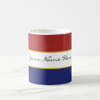 Personalized Red, White and Blue Stripes Coffee Mug
