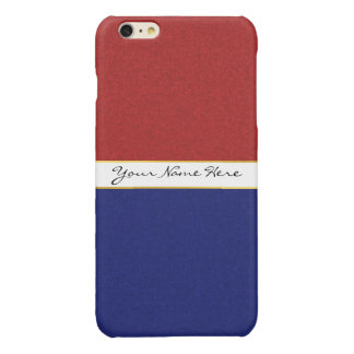 Personalized Red, White and Blue Stripes Glossy iPhone 6 Plus Case