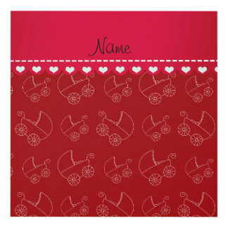 Personalized red white baby carriages panel wall art