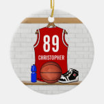 Personalized Red White Basketball Jersey Double-Sided Ceramic Round Christmas Ornament