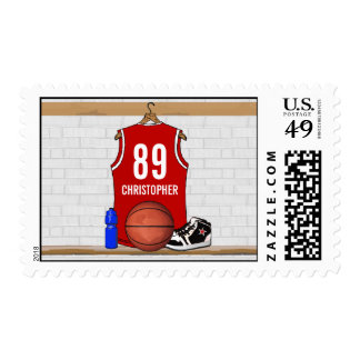 Personalized Red White Basketball Jersey Postage Stamp