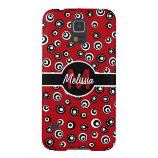 Personalized red white  black circle pattern galaxy s5 cover