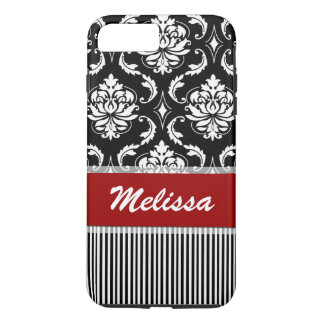 Personalized Red, White, Black Damask Striped iPhone 8 Plus/7 Plus Case
