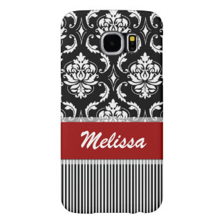 Personalized Red, White, Black Damask Striped Samsung Galaxy S6 Case