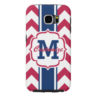 Personalized Red White Blue Chevron Stripe Samsung Galaxy S6 Case