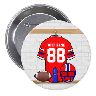 Personalized Red White Blue Football Jersey 3 Inch Round Button