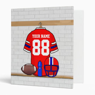 Personalized Red White Blue Football Jersey Binder