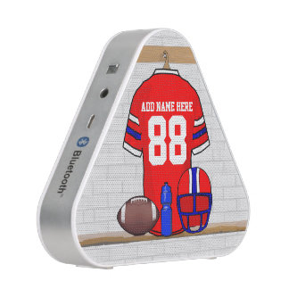 Personalized Red White Blue Football Jersey Bluetooth Speaker