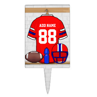 Personalized Red White Blue Football Jersey Cake Topper