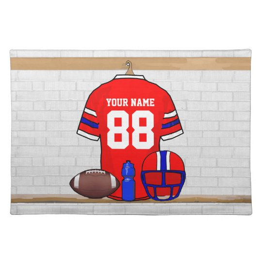 Personalized Red White Blue Football Jersey Cloth Placemat