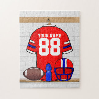 Personalized Red White Blue Football Jersey Jigsaw Puzzle