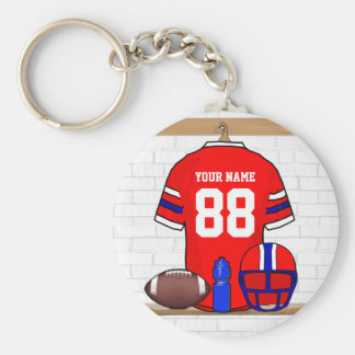 Personalized Red White Blue Football Jersey Basic Round Button Keychain
