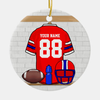 Personalized Red White Blue Football Jersey Double-Sided Ceramic Round Christmas Ornament