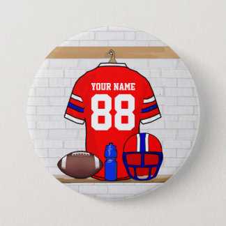 Personalized Red White Blue Football Jersey Pinback Button