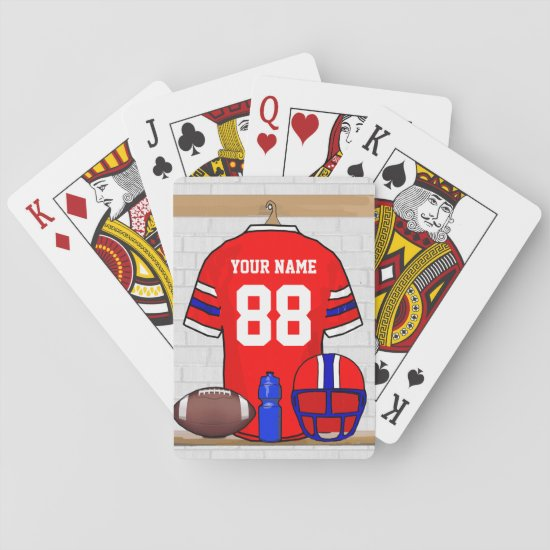 Personalized Red White Blue Football Jersey Playing Cards