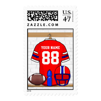 Personalized Red White Blue Football Jersey Postage Stamp