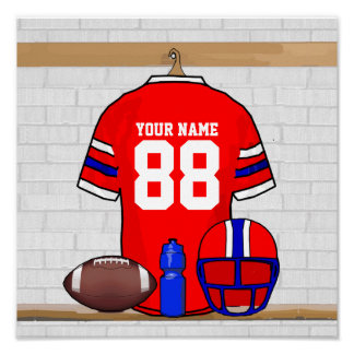 Personalized Red White Blue Football Jersey Poster