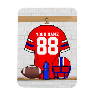 Personalized Red White Blue Football Jersey Rectangular Photo Magnet