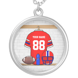 Personalized Red White Blue Football Jersey Silver Plated Necklace