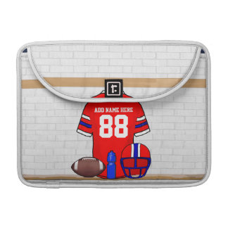 Personalized Red White Blue Football Jersey Sleeve For MacBook Pro