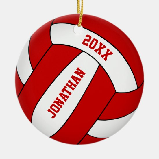 personalized red & white boys volleyball ceramic ornament