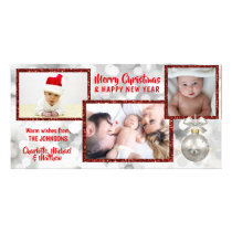 Personalized Red White Christmas Holiday | PHOTO Card