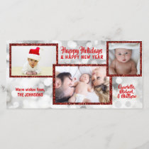Personalized Red White Christmas Holidays | PHOTO Holiday Card