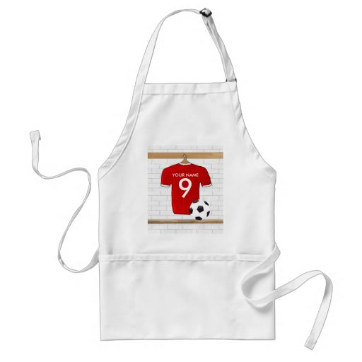 Personalized Red White Football Soccer Jersey Adult Apron
