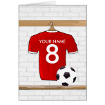 Personalized Red White Football Soccer Jersey Cards