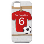 Personalized Red White Football Soccer Jersey iPhone 5 Cases