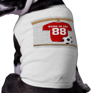 Personalized Red White Football Soccer Jersey Dog Clothes