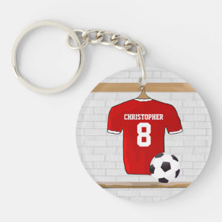 Personalized Red White Football Soccer Jersey Acrylic Key Chain