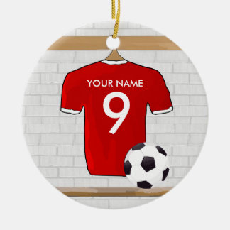 Personalized Red White Football Soccer Jersey Ornaments