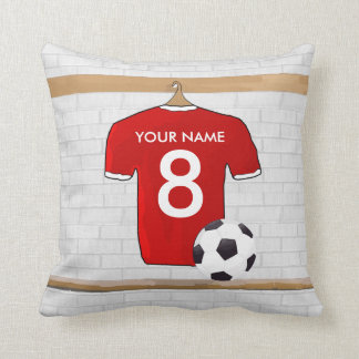 Personalized Red White Football Soccer Jersey Pillow