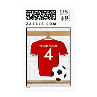 Personalized Red White Football Soccer Jersey Stamps