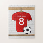 Personalized Red White Football Soccer Jersey Jigsaw Puzzles