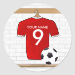 Personalized Red White Football Soccer Jersey Classic Round Sticker