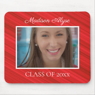 Personalized Red White Graduation Photo Mouse Pad