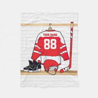 Personalized Red White Ice Hockey Jersey Fleece Blanket