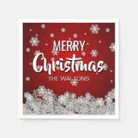Personalized RED White MERRY CHRISTMAS Snowflakes Paper Napkin